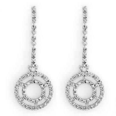 Natural 1.0 ctw Diamond Earrings 14K White Gold