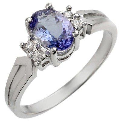 Genuine 1.10 ctw Tanzanite & Diamond Ring White Gold