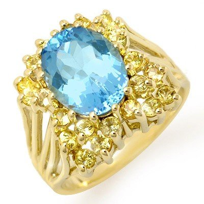 Genuine 6.0 ctw Yellow Sapphire & Blue Topaz Ring Gold