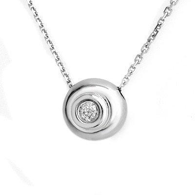 Natural 0.10 ctw Diamond Necklace 14K White Gold