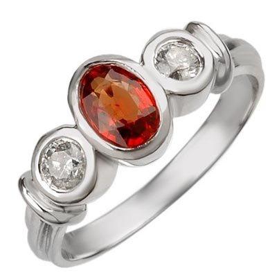 Genuine 1.05 ctw Orange Sapphire & Diamond Ring 14K Whi