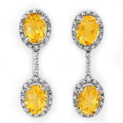 Genuine 6.10 ctw Citrine & Diamond Earrings White Gold