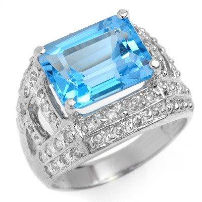 Genuine 6.50 ctw Blue Topaz & Diamond Ring 14K Gold