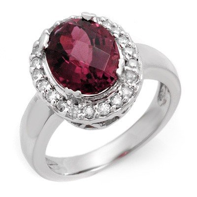 Genuine 3.4ctw Pink Tourmaline & Diamond Ring 10K Gold