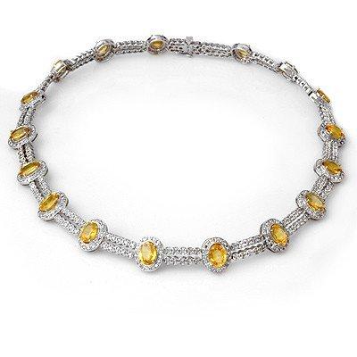 Genuine 55.5 ctw Yellow Sapphire & Diamond Necklace 14K