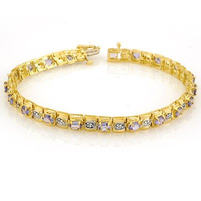 Genuine 3.14 ctw Tanzanite & Diamond Bracelet 10K Gold