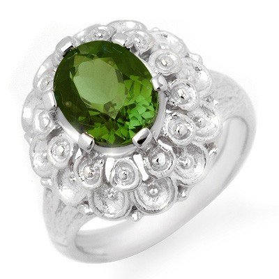 Genuine 3.0 ctw Green Tourmaline Ring 10K White Gold