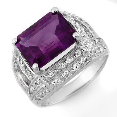 Genuine 5.0 ctw Amethyst & Diamond Ring 14K White Gold