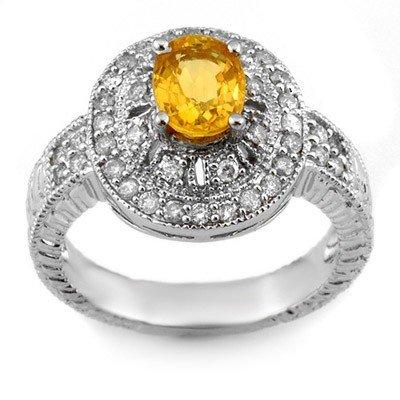 Genuine 2.08ctw Yellow Sapphire & Diamond Ring 14K Gold