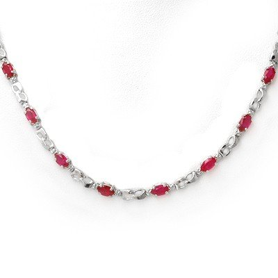 Genuine 9.02 ctw Ruby & Diamond Necklace White Gold