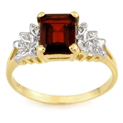 Genuine 2.37 ctw Garnet & Diamond Ring 10K Yellow Gold