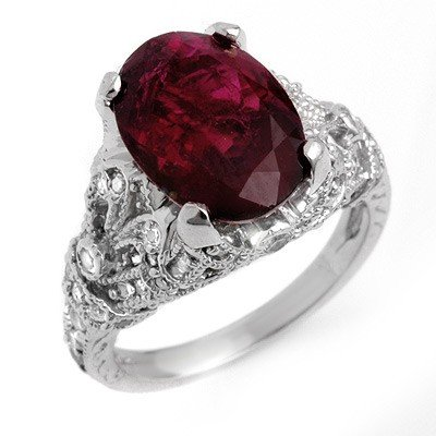 Genuine 5.60ctw Rubellite & Diamond Ring 14K White Gold