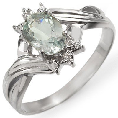 Genuine 0.79 ctw Aquamarine & Diamond Ring 10K Gold