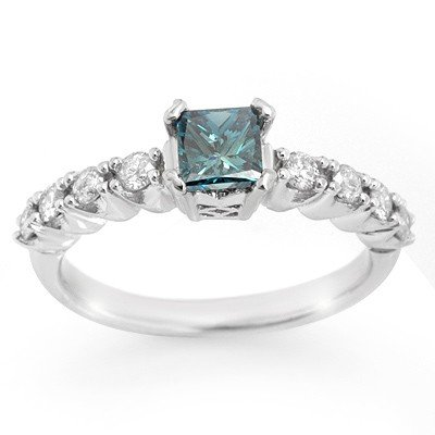 Natural 0.90 ctw Blue Diamond Ring 14K White Gold