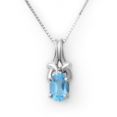 Genuine 0.91 ctw Blue Topaz & Diamond Necklace Gold