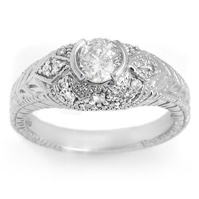 Natural 0.75 ctw Diamond Ring 14K White Gold