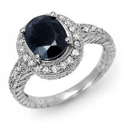 Genuine 3.10ctw Sapphire & Diamond Ring 14K White Gold