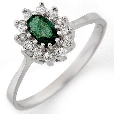 Genuine 0.60 ctw Emerald & Diamond Ring 14K White Gold