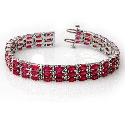 Genuine 30.26 ctw Ruby & Diamond Bracelet White Gold