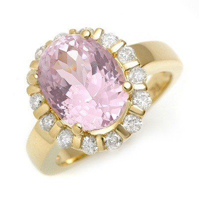 Genuine 7.65 ctw Kunzite & Diamond Ring 10K Yellow Gold