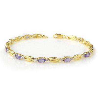 Genuine 2.50 ctw Tanzanite Bracelet 10K Yellow Gold