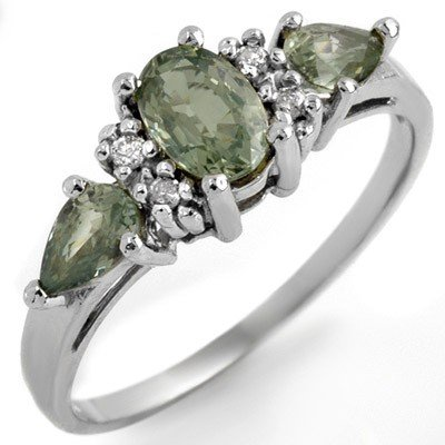Genuine 1.33 ctw Green Sapphire & Diamond Ring Gold