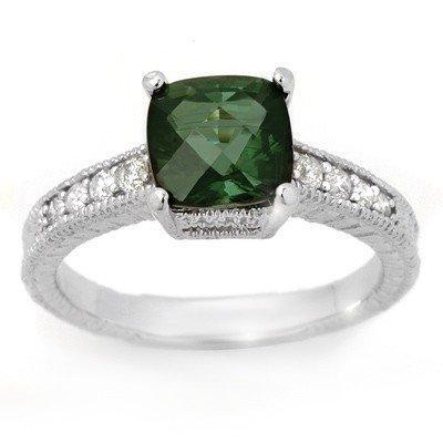 Genuine 2.25 ctw Green Tourmaline & Diamond Ring Gold