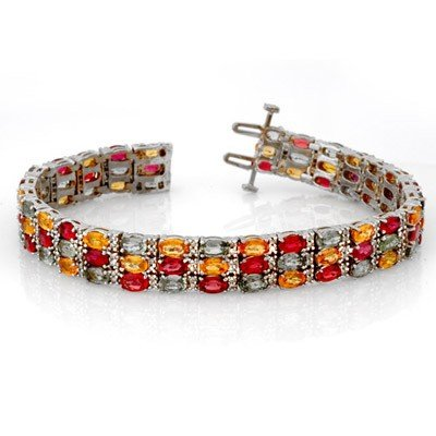 Genuine 32.26 ctw Multi-Sapphire & Diamond Bracelet Gol