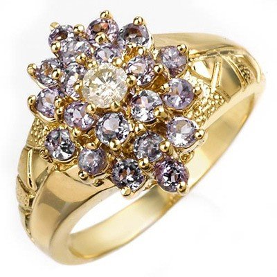 Genuine 1.04ct Tanzanite & Diamond Ring 10K Yellow Gold