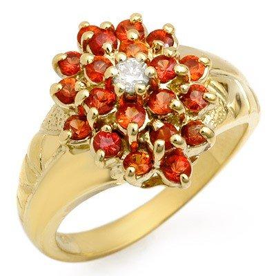Genuine 1.39ctw Red Sapphire & Diamond Ring Yellow Gold