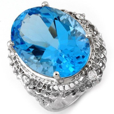 Genuine 18.15 ctw Blue Topaz & Diamond Ring 10K Gold