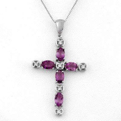 Genuine 2.15 ctw Amethyst & Diamond Necklace 10K Gold