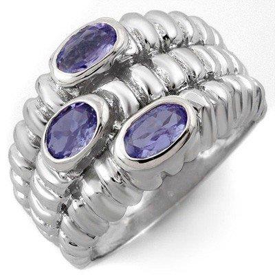 Genuine 1.25 ctw Tanzanite Ring 10K White Gold