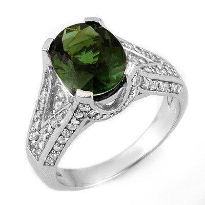 Genuine 4.55ct Green Tourmaline & Diamond Ring 14K Gold