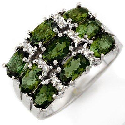 Genuine 3.15ct Green Tourmaline & Diamond Ring 10K Gold