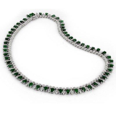 Genuine 32.0 ctw Emerald & Diamond Necklace White Gold