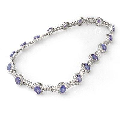 Genuine 45 ctw Tanzanite & Diamond Necklace 14K Gold