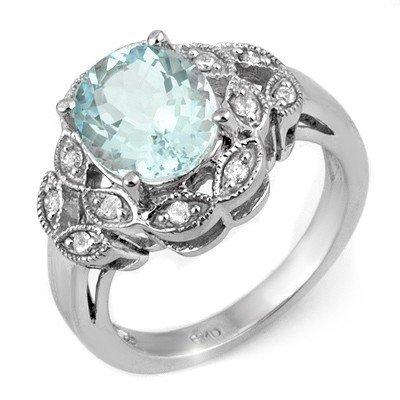Genuine 3.25 ctw Aquamarine & Diamond Ring 10K Gold