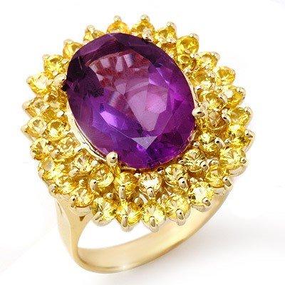 Genuine 10.25 ctw Yellow Sapphire & Amethyst Ring Gold