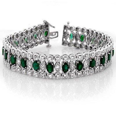 Genuine 14.5 ctw Emerald & Diamond Bracelet White Gold