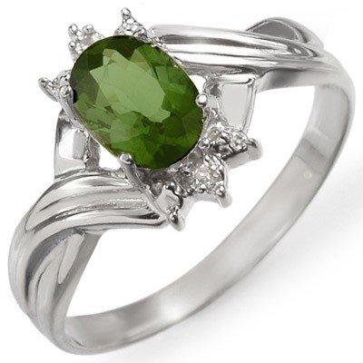 Genuine 0.79 ctw Green Tourmaline & Diamond Ring Gold