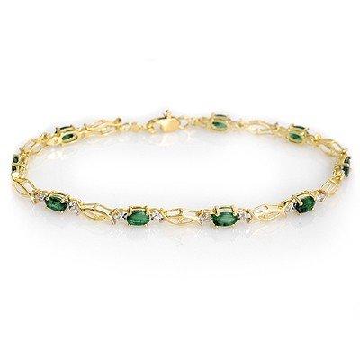 Genuine 2.80 ctw Emerald Bracelet 10K Yellow Gold