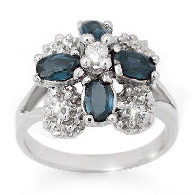 Genuine 1.33 ctw Blue Sapphire & Diamond Ring 10K Gold