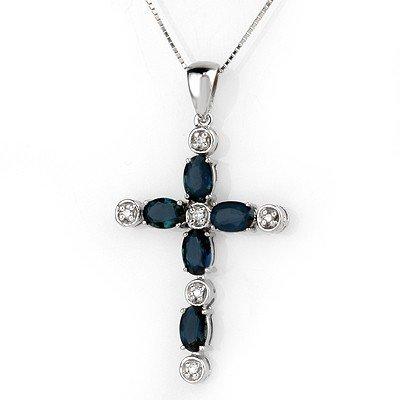 Genuine 3.15 ctw Blue Sapphire & Diamond Necklace Gold