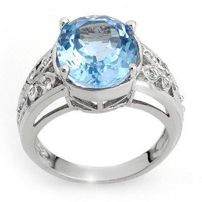 Genuine 7.15 ctw Blue Topaz & Diamond Ring White Gold