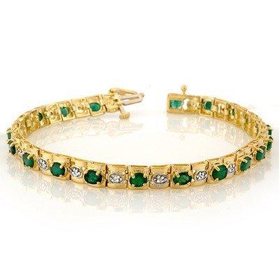 Genuine 4.09 ctw Emerald & Diamond Bracelet Yellow Gold