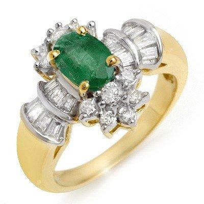 Genuine 1.75 ctw Emerald & Diamond Ring 14K Yellow Gold