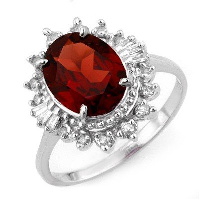 Genuine 3.45 ctw Garnet & Diamond Ring 10K White Gold