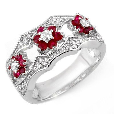 Genuine 0.85 ctw Ruby & Diamond Ring 14K White Gold