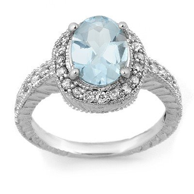Genuine 2.90 ctw Aquamarine & Diamond Ring 14K Gold